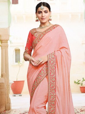 Pink Embroidered Party Trendy Saree