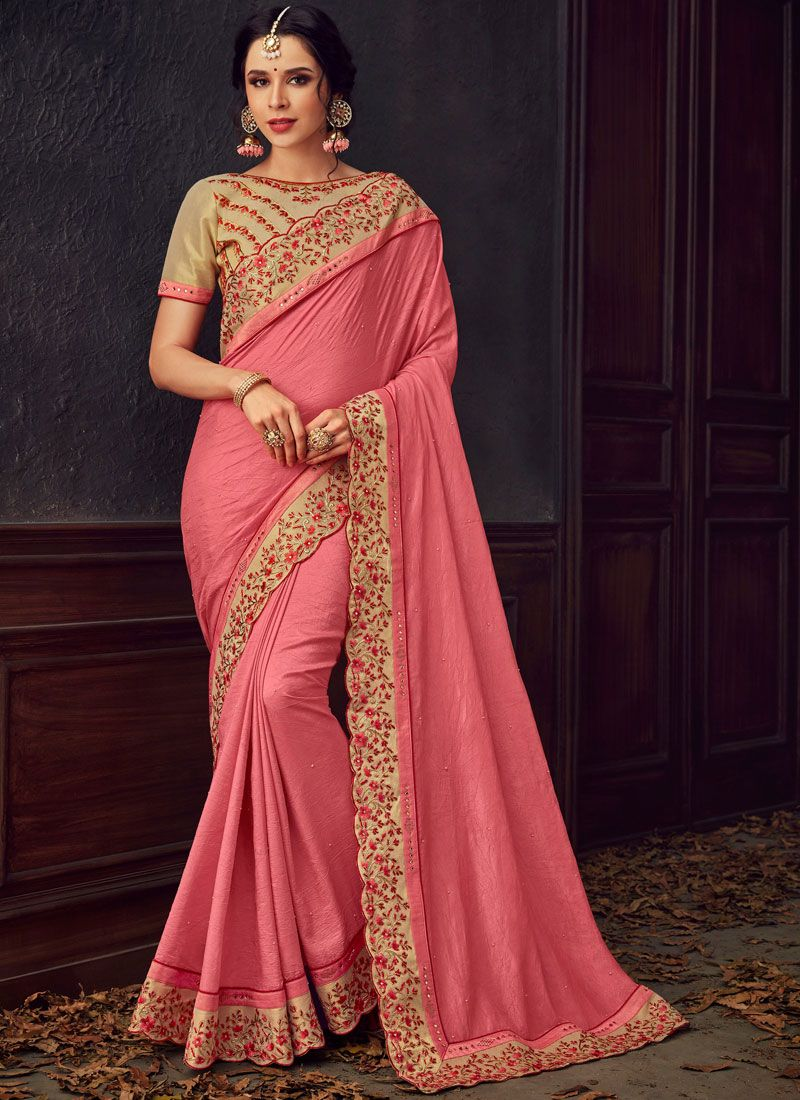 Pink Embroidered Poly Silk Trendy Saree