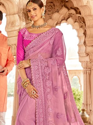 Pink Embroidered Pure Chiffon Designer Saree