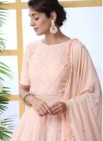 Pink Embroidered Reception Palazzo Salwar Kameez