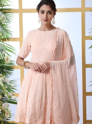 Pink Embroidered Reception Palazzo Salwar Kameez