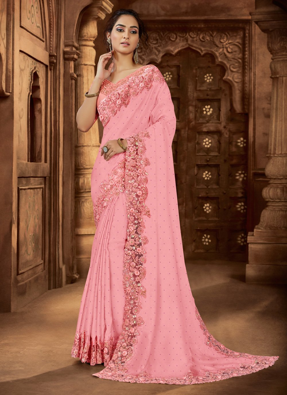 Pink Embroidered Reception Trendy Saree