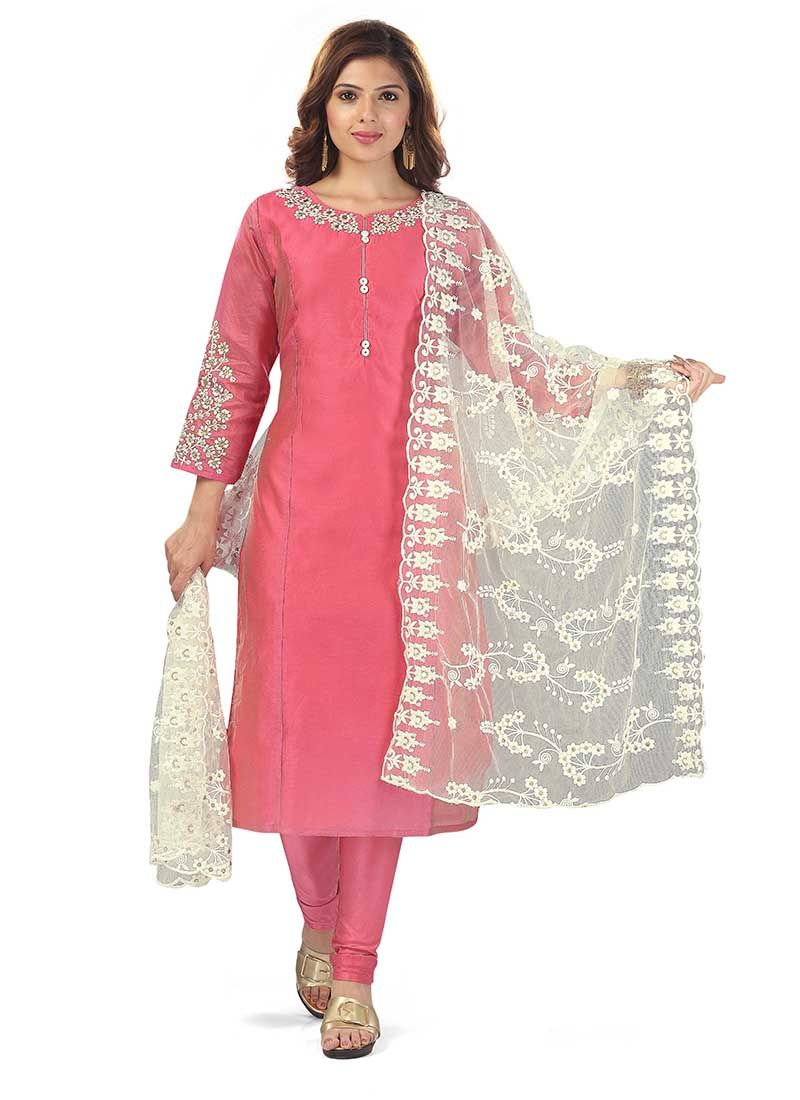 Pink Embroidered Salwar Suit