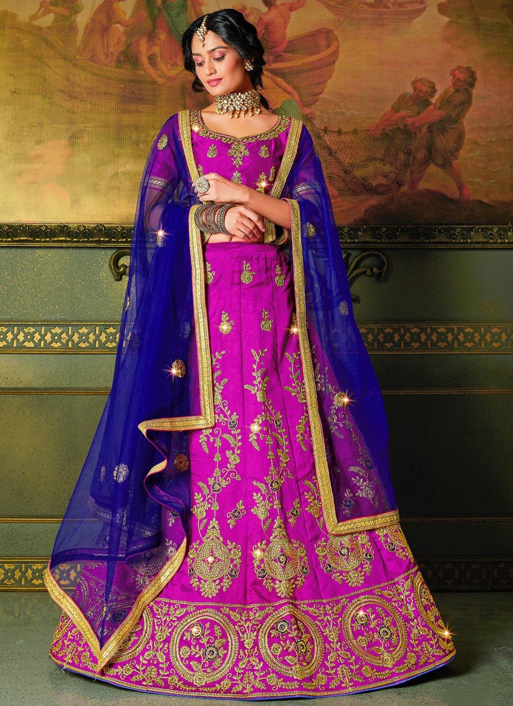 Pink Embroidered Silk Bollywood Lehenga Choli