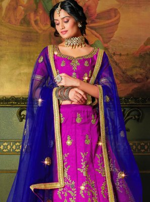 Pink Embroidered Silk Bollywood Lehenga Choli