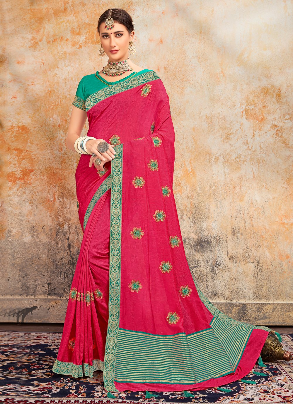 Pink Embroidered Silk Classic Saree