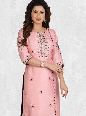 Pink Embroidered Silk Designer Kurti