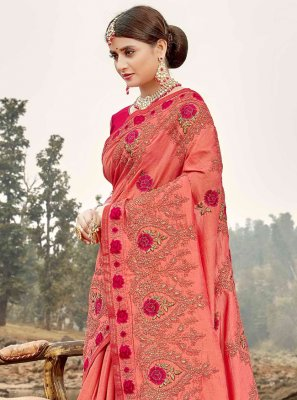 Pink Embroidered Silk Designer Saree