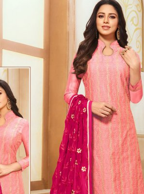 Pink Embroidered Silk Designer Suit