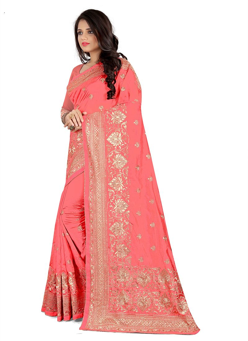 Pink Embroidered Silk Saree