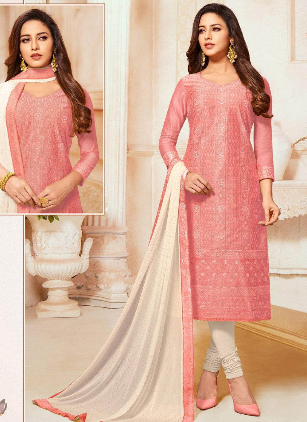 Pink Embroidered Trendy Churidar Suit