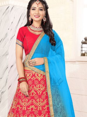 Pink Embroidered Trendy Lehenga Choli
