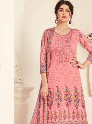 Pink Embroidered Trendy Straight Salwar Suit