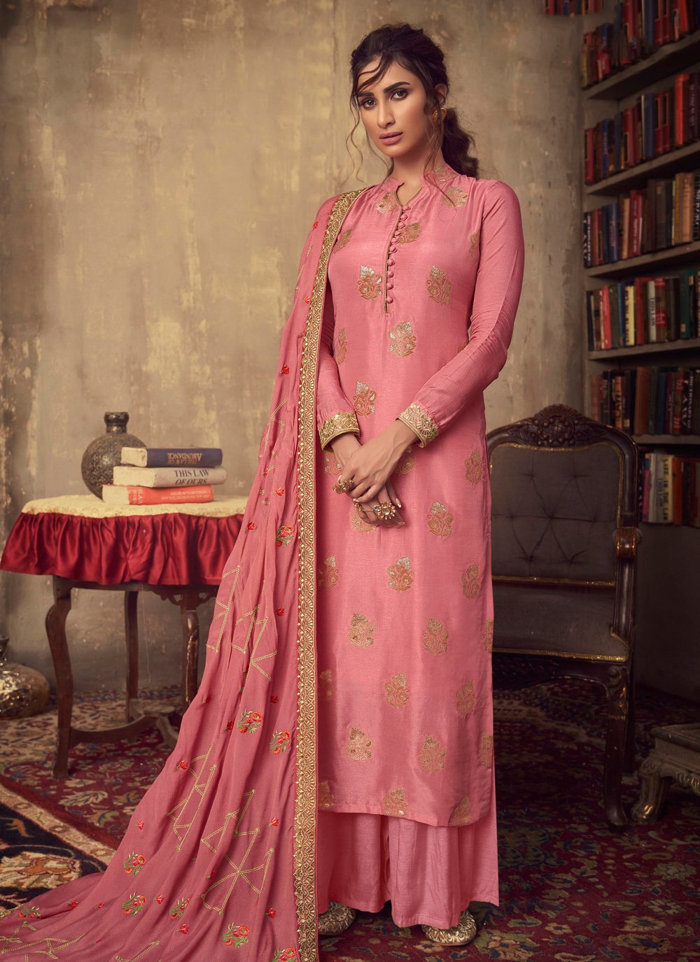 Pink Embroidered Viscose Designer Palazzo Salwar Suit