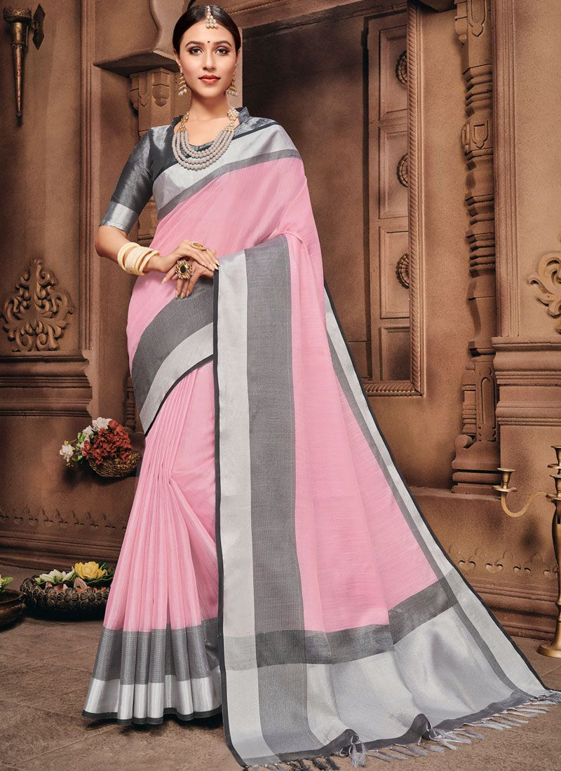 Pink Fancy Cotton Classic Saree