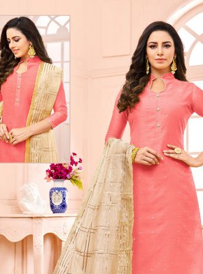 Pink Fancy Fabric Designer Straight Suit