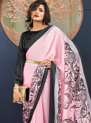 Pink Faux Crepe Ceremonial Trendy Saree