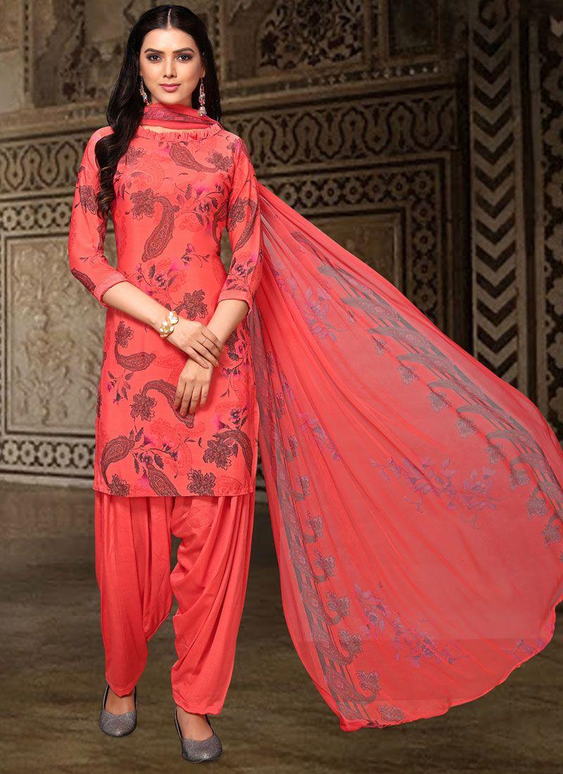 Pink Faux Crepe Printed Designer Salwar Kameez
