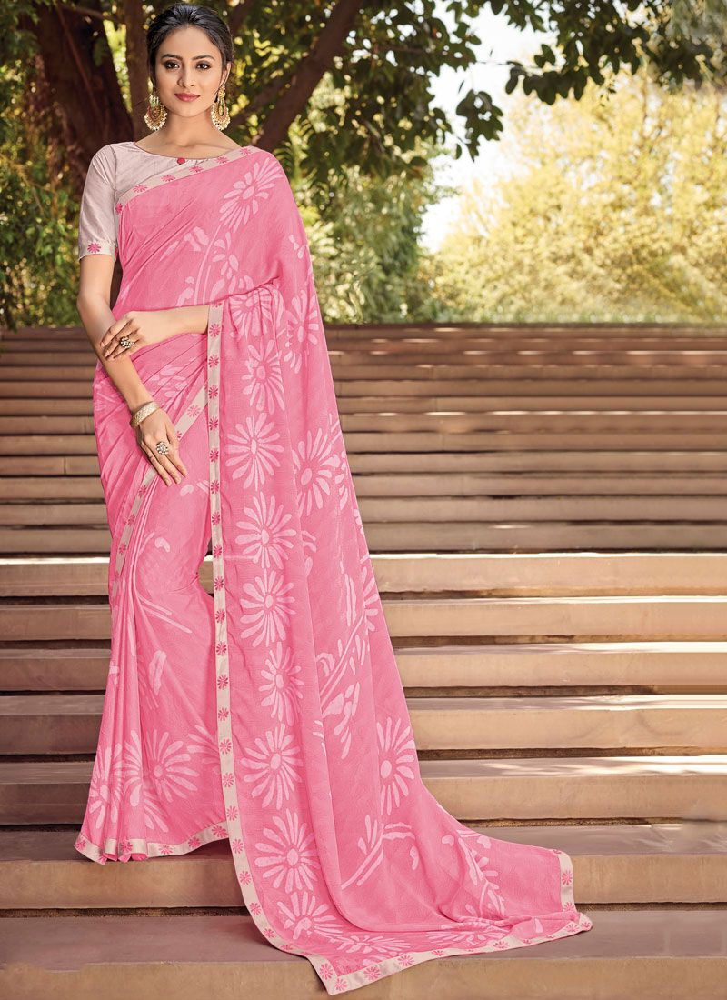Pink Faux Georgette Abstract Print Printed Saree