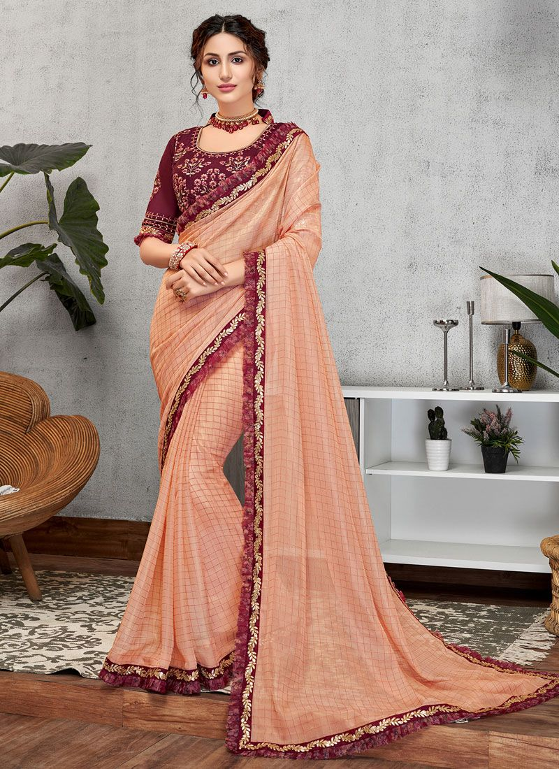 Pink Faux Georgette Designer Traditional Saree