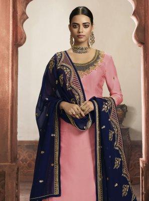 Pink Faux Georgette Wedding A Line Lehenga Choli