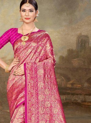 Pink Festival Art Silk Traditional Designer Saree
