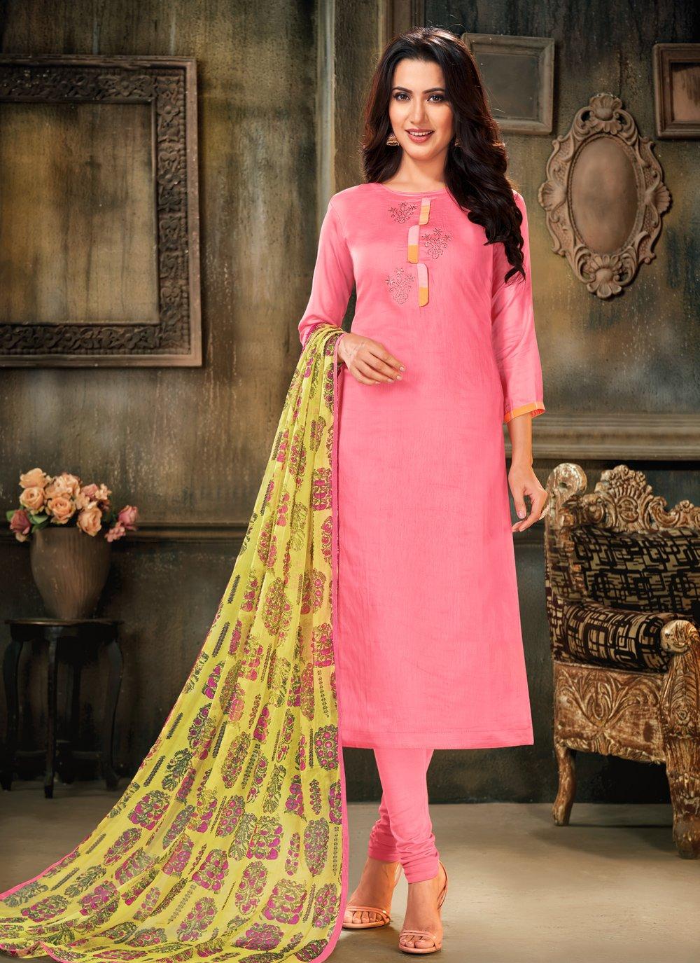 Pink Festival Cotton Bollywood Salwar Kameez