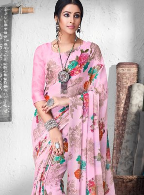 Pink Festival Faux Chiffon Contemporary Saree