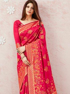 Pink Festival Silk Contemporary Saree