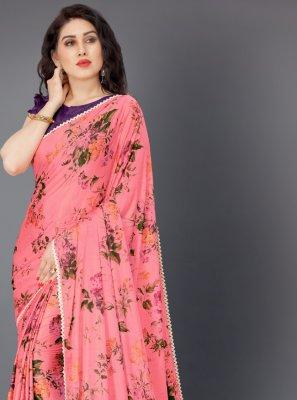 Pink Floral Print Lycra Classic Saree