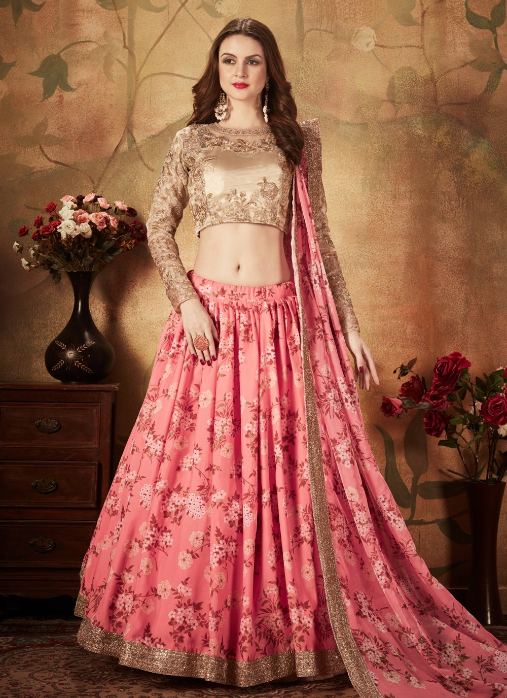 Pink Floral Print Party Bollywood Lehenga Choli