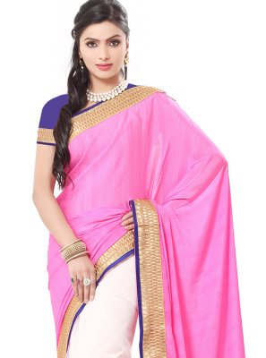 Pink Georgette Festival Classic Saree