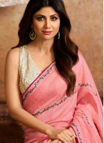 Pink Georgette Party Designer Traditional Saree