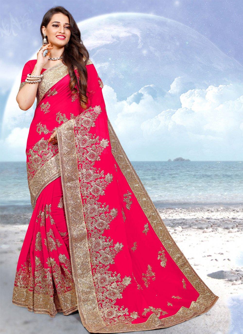 Pink Georgette Resham Classic Saree