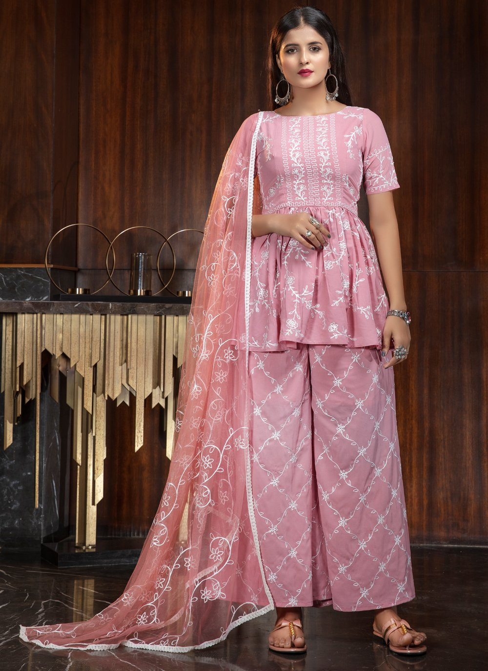 Pink Georgette Thread Palazzo Salwar Suit