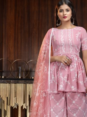 Pink Georgette Thread Palazzo Salwar Suit