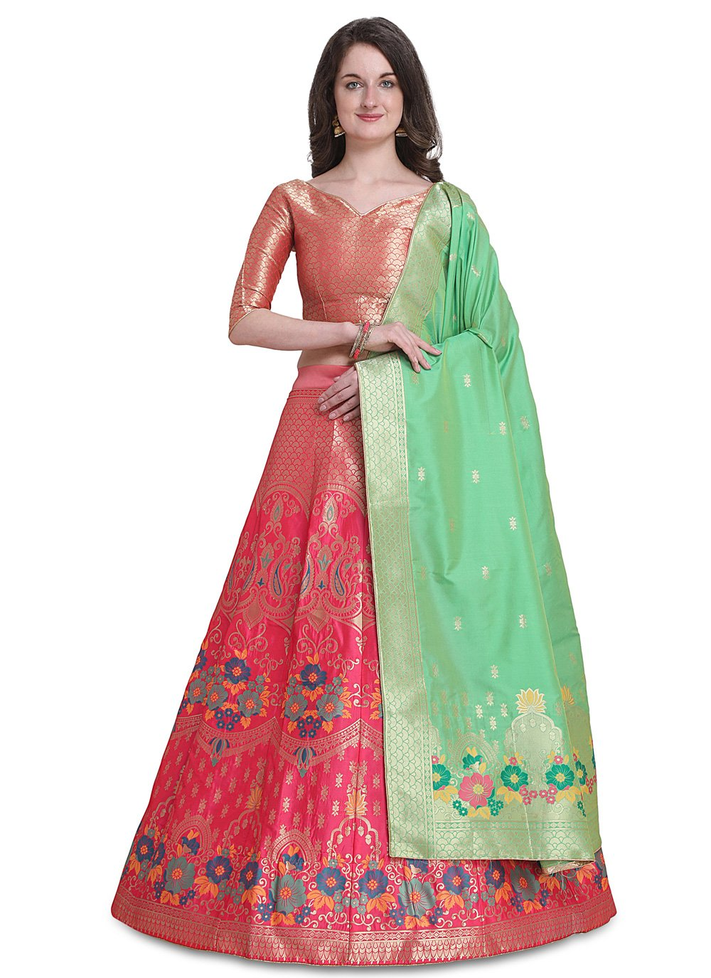 Pink Jacquard Reception Lehenga Choli