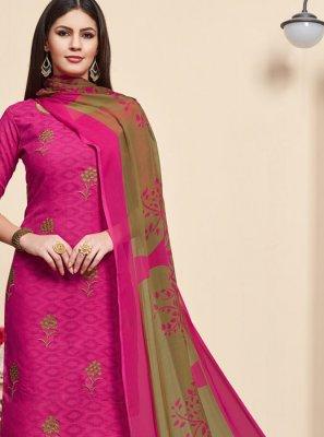 Pink Jacquard Salwar Suit