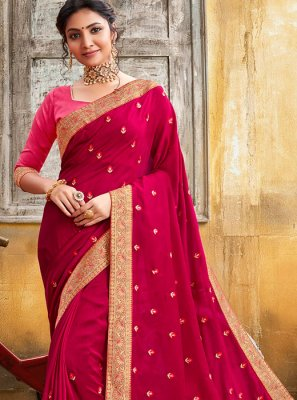 Pink Lace Party Silk Saree