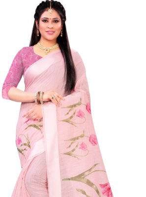 Pink Linen Festival Traditional Saree