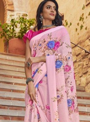 Pink Linen Printed Designer Saree