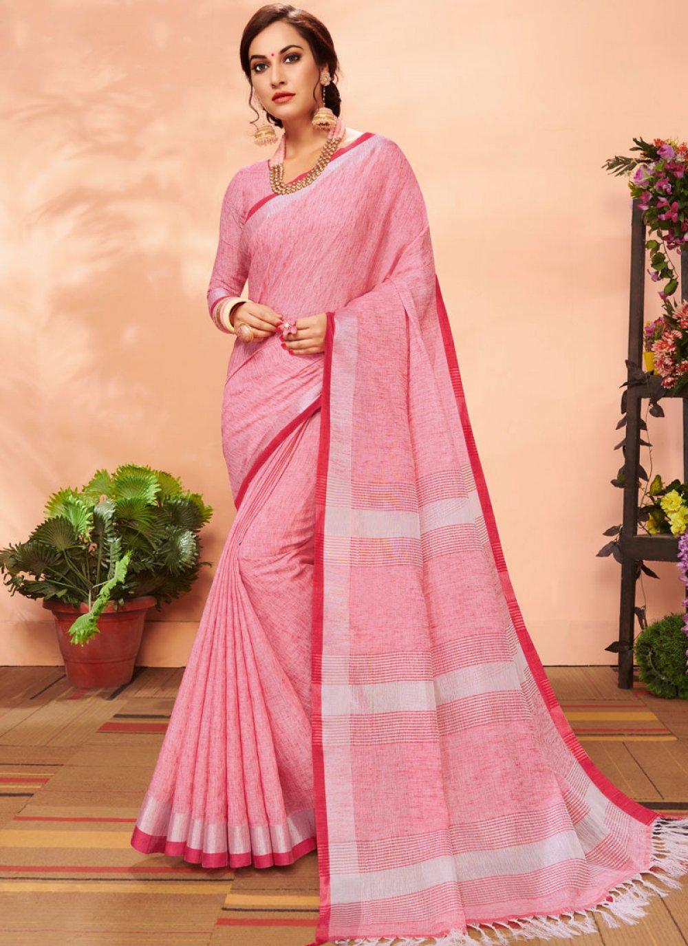 Pink Mehndi Casual Saree