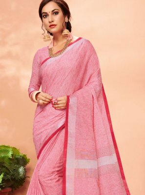 Pink Mehndi Casual Saree