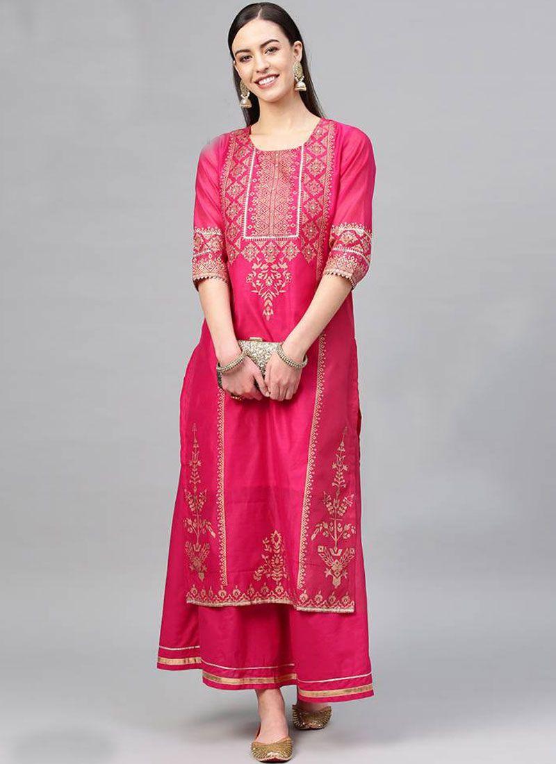 Pink Mehndi Cotton Salwar Kameez