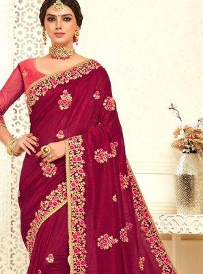 Pink Mehndi Poly Silk Designer Bridal Sarees