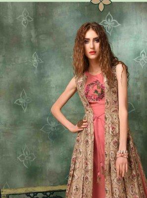 Pink Muslin Embroidered Designer Kurti
