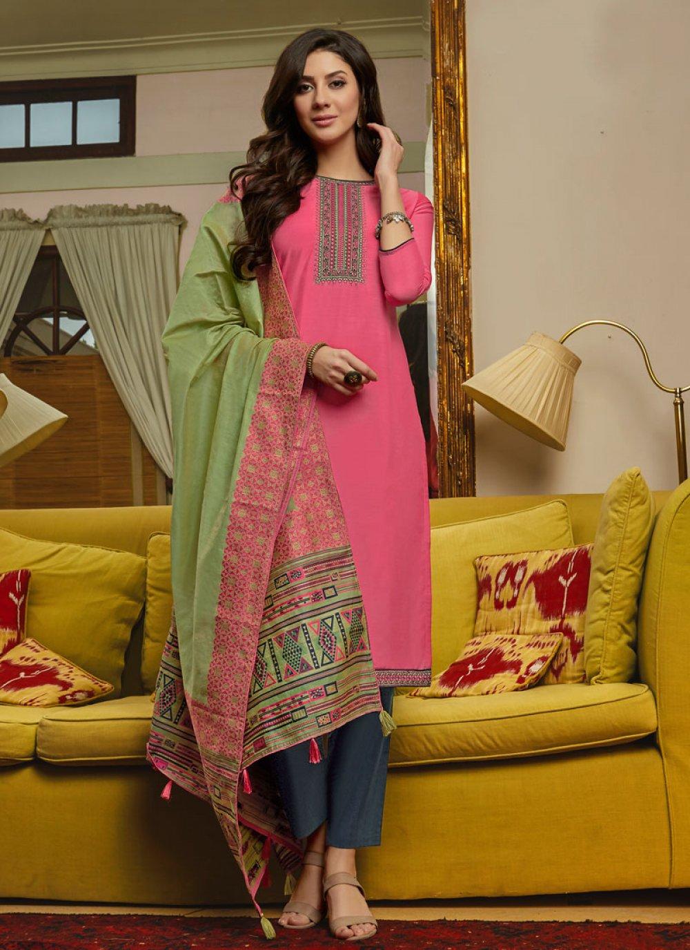 Pink Muslin Embroidered Salwar Suit