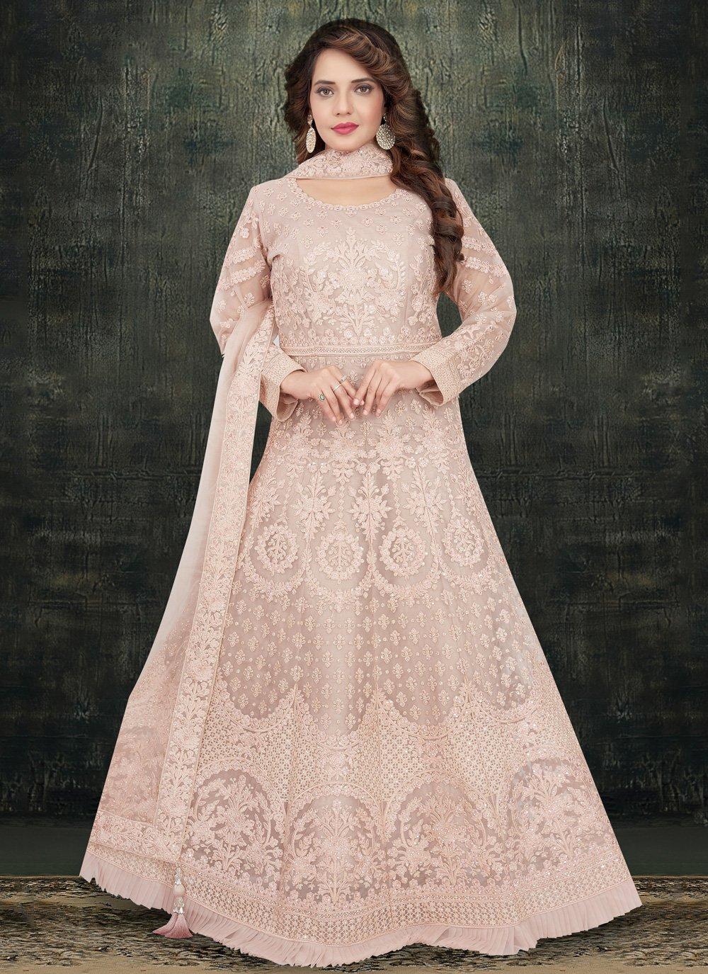 Pink Net Anarkali Salwar Kameez