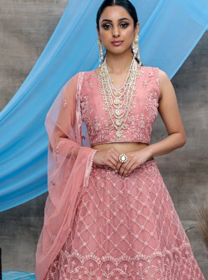 Pink Net Bollywood Lehenga Choli