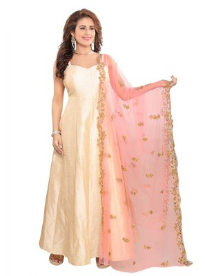 Pink Net Embroidered Designer Dupatta